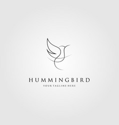 hummingbird logo colibri line art icon emblem vector image