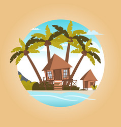 image a bungalow on the shore of a lagoon vector image