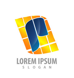 initial letter p square pixel logo concept design vector image
