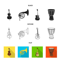 isolated object of music and tune logo set of vector image