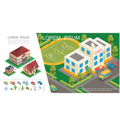 isometric city colorful concept vector image