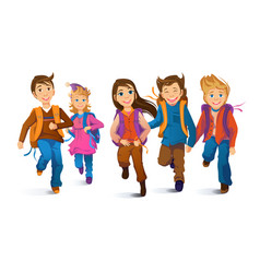 Joyful children with backpacks running primary vector