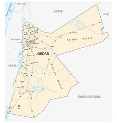 Kingdom of jordan road map vector