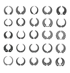 Laurel wreath icons set simple style vector