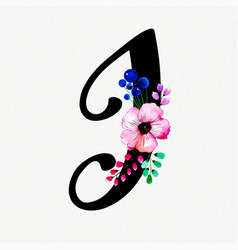Letter i watercolor floral background vector