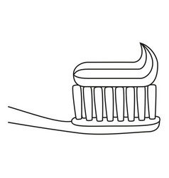 line art black and white toothbrush with vector image
