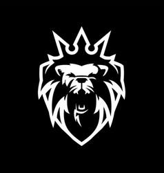 lion king shield logo icon vector image