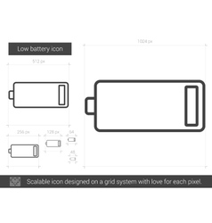 Low battery line icon vector image