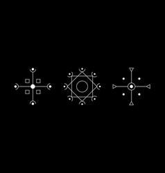 Magic geometry cruciform white symbol set circle vector