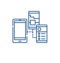 mobile apps line icon concept mobile apps flat vector image