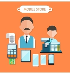 Mobile Store Concept Flat Design vector