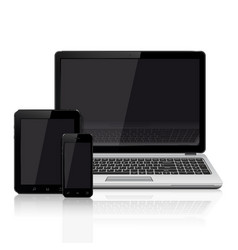 Modern laptop mobile phone tablet on a white vector