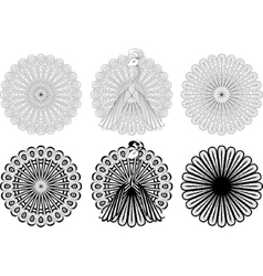 Monochrome circular ornaments vector image