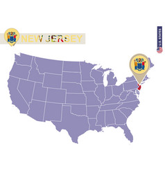 New jersey state on usa map new jersey flag and vector