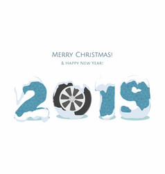 New year 2019 with cars wheel on white vector