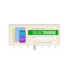 online trainings billboard with smartphone vector image