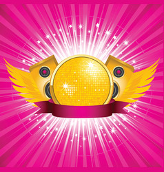 Orange disco ball and speakers vector
