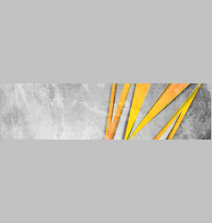 Orange grey abstract grunge corporate banner vector