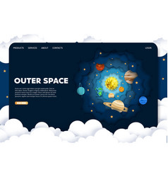 Outer space website landing page design vector