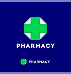 Pharmacy logo medicine cross leaf bended corner vector