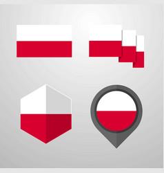 Poland flag design set vector