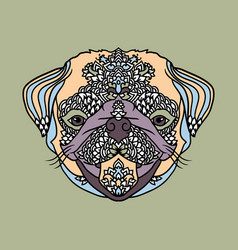 pug with ethnic floral ornaments for adult vector image