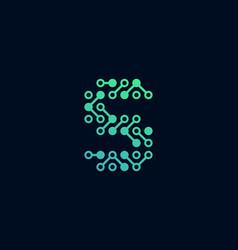 S circuit digital letter logo icon design vector