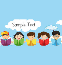 Sample text template with kids reading books vector