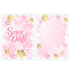 save the date in pink with flowers vector image