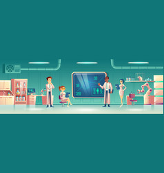 scientific laboratory interior with scientists vector image