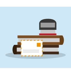 Seal mail and books design vector