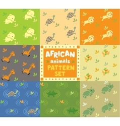Seamless pattern set with funny african animals vector