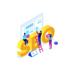 Seo optimization - modern colorful isometric vector
