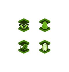 set box and leaf logo designs inspiration vector image