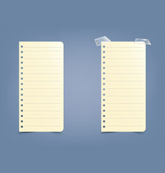 sheet page in a striped notebook notepad on a vector image