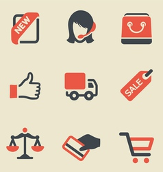 Shopping black and red icon set vector image