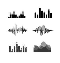 silhouette black equalizer icon set vector image