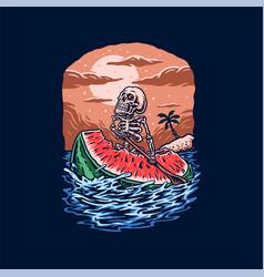 Skeleton ride watermelons summer beach t shirt gr vector