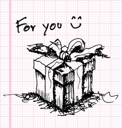 sketch drawing of gift on graph paper vector image vector image
