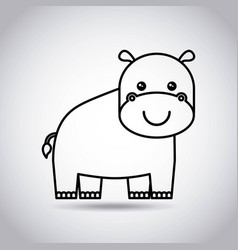 Tender cute hippo card icon vector