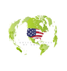 united satates america on green map state in vector image
