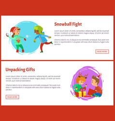 unpacking gfts postcards and snowball fight xmas vector image
