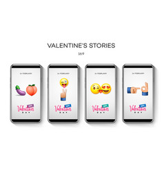 valentines day stories template streaming vector image