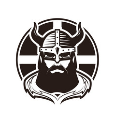 viking logo or label warrior in armor vector image