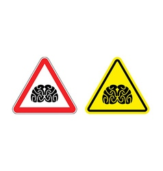 Warning sign of attention to think Hazard yellow vector image
