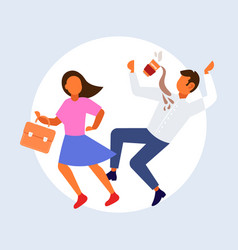 Woman knocking man with coffee cup falling down vector