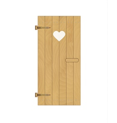 Wooden door with heart vector