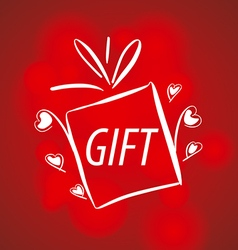 Abstract logo for gifts on a red background vector image