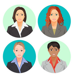 avatar businesswoman portraits in four circles vector image vector image