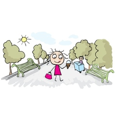 Girl eating ice cream in park vector image